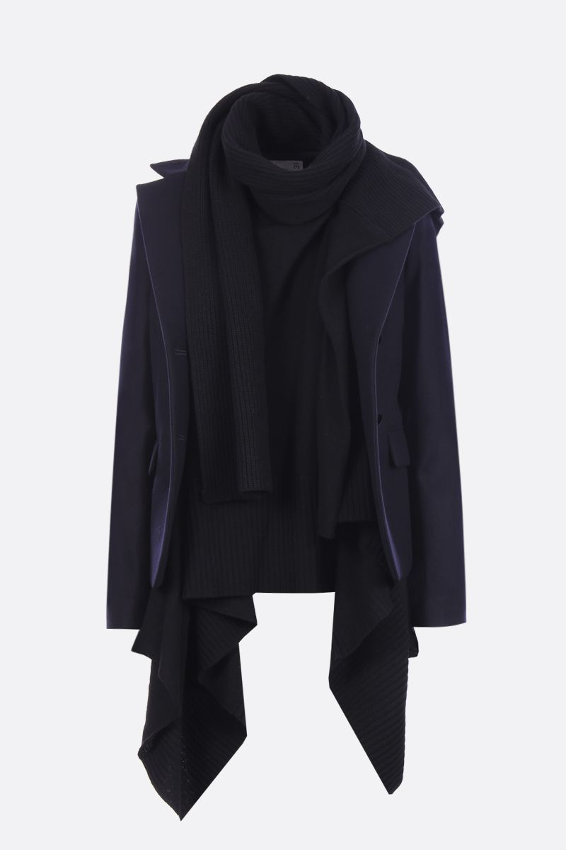 SACAI: Melton fabric single-breasted jacket with asymmetric waistcoat_1