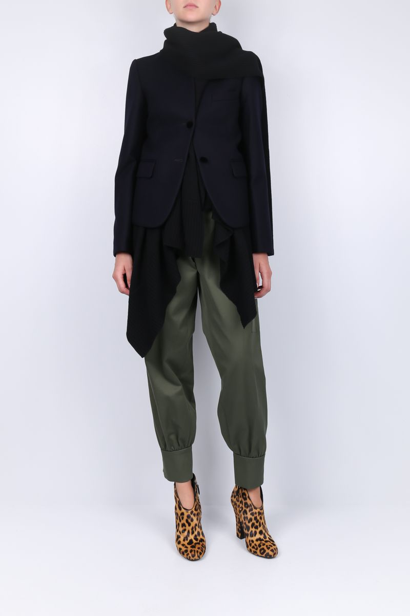 SACAI: Melton fabric single-breasted jacket with asymmetric waistcoat_2