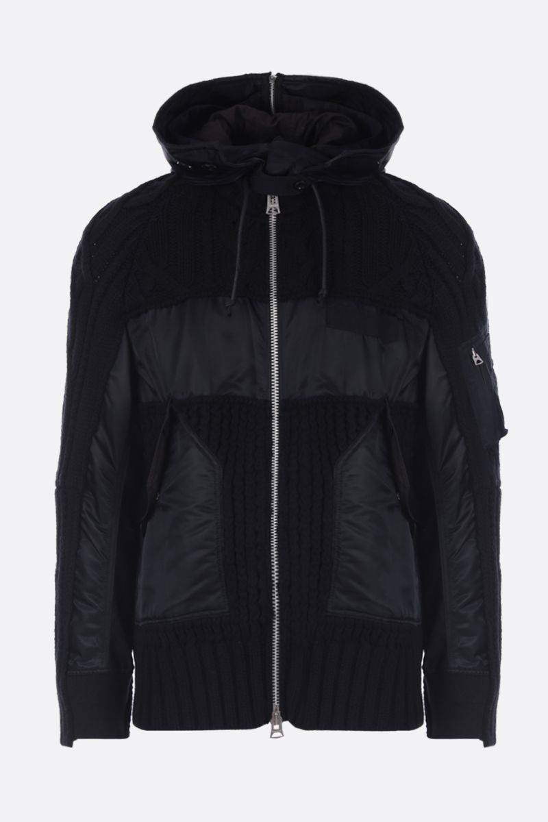 SACAI: full-zip jacket in knitted wool blend and nylon Color Black_1