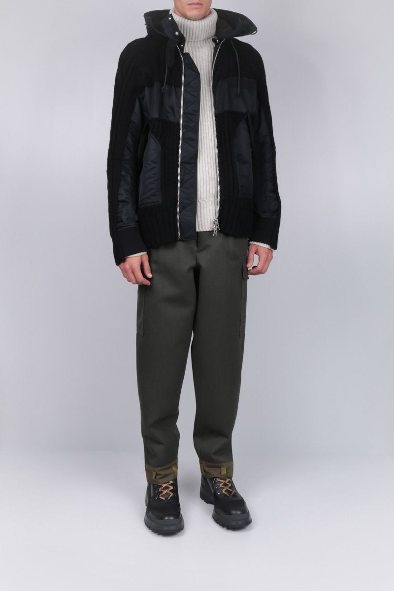 SACAI: full-zip jacket in knitted wool blend and nylon Color Black_2
