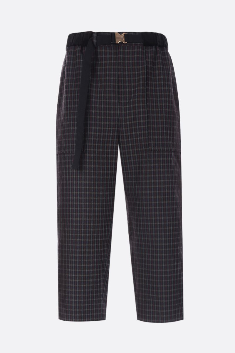 SACAI: pantalone loose-fit in misto lana a quadri Colore Nero_1