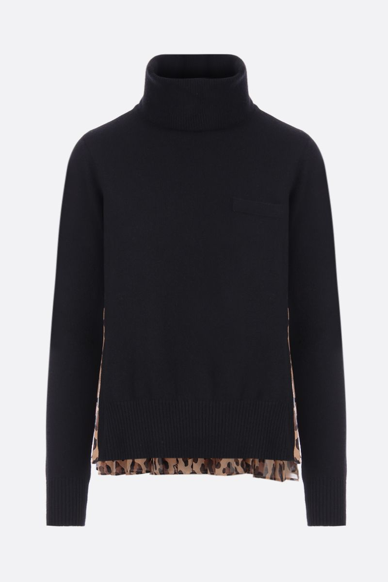 SACAI: wool pullover with leopard chiffon insert Color Neutral_1