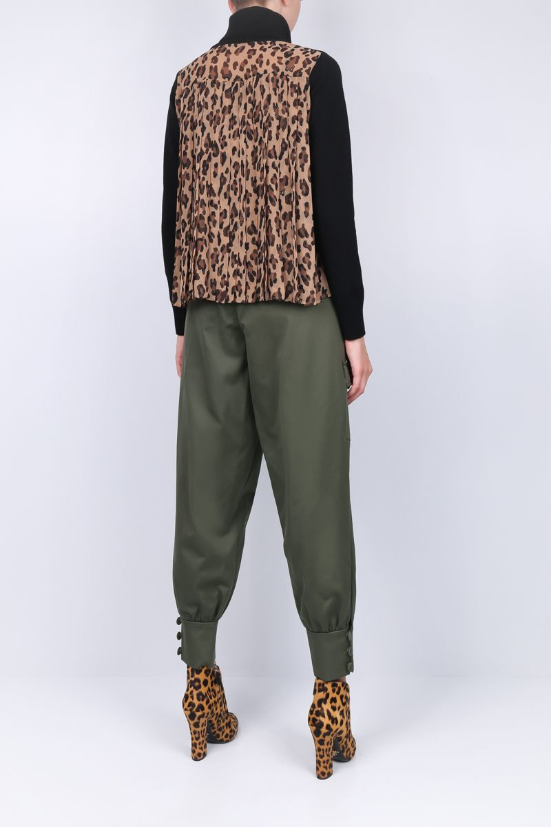 SACAI: wool pullover with leopard chiffon insert Color Neutral_2