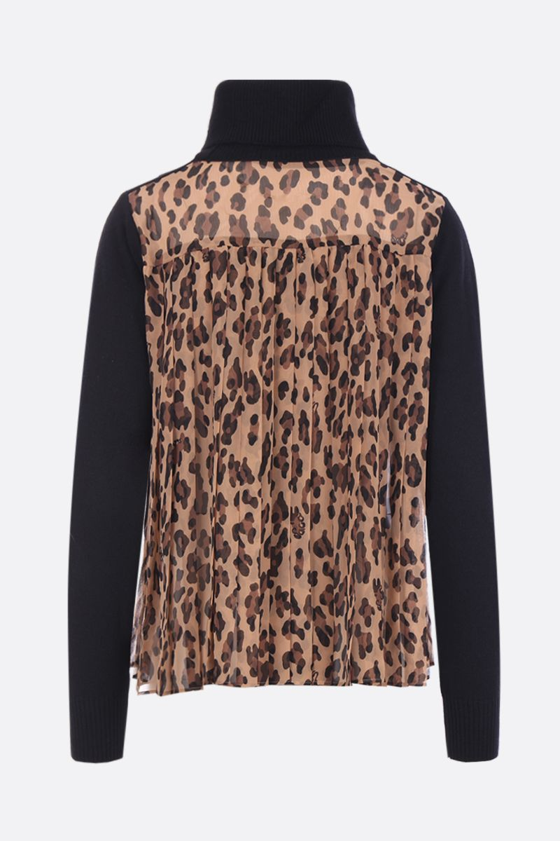 SACAI: wool pullover with leopard chiffon insert Color Neutral_3