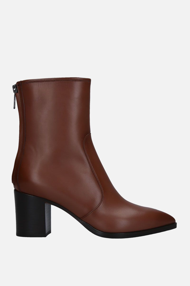 SANTONI: smooth leather ankle boots Color Brown_1