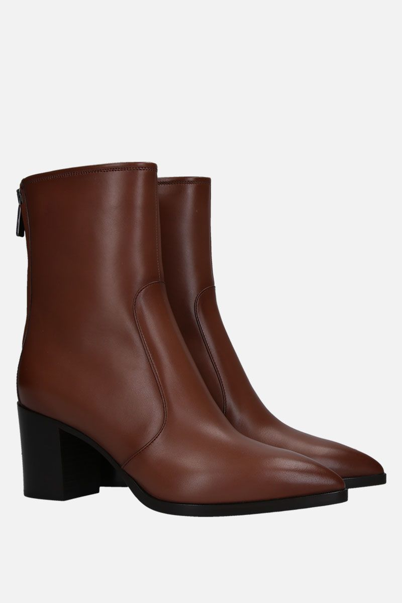 SANTONI: smooth leather ankle boots Color Brown_2