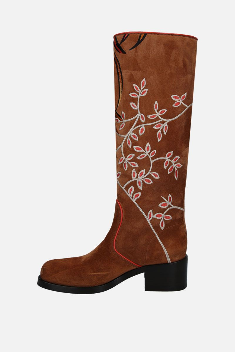 SANTONI: floral embroidered suede boots_2