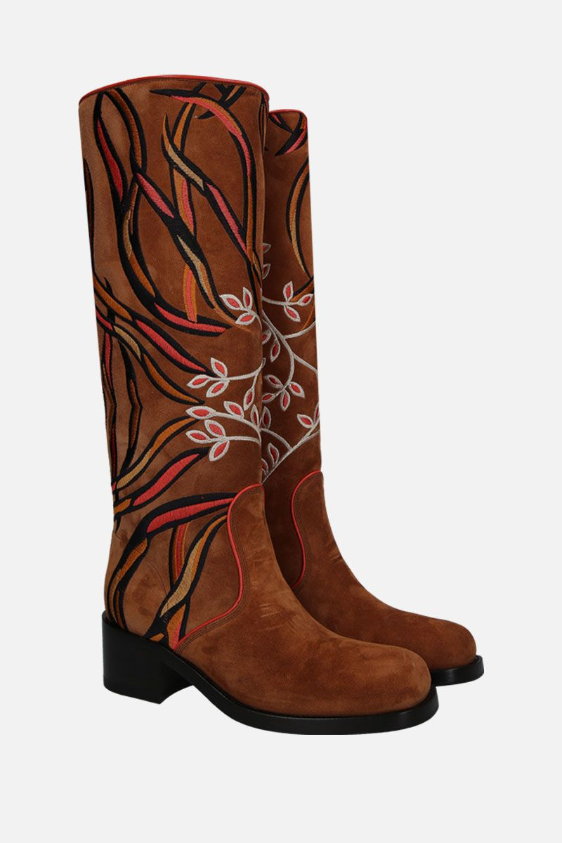 SANTONI: floral embroidered suede boots_3