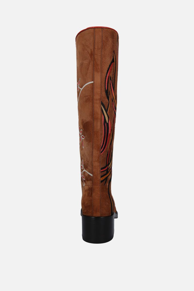 SANTONI: floral embroidered suede boots_4