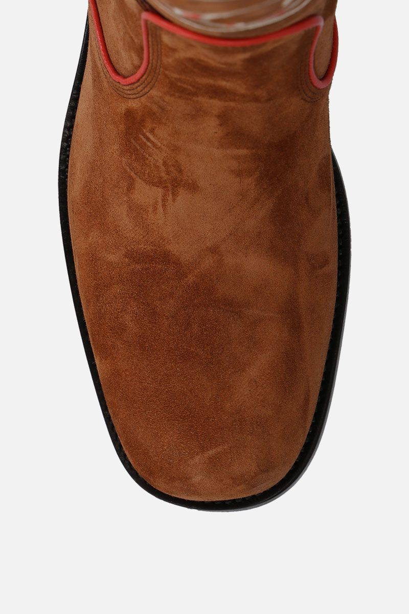 SANTONI: floral embroidered suede boots_5