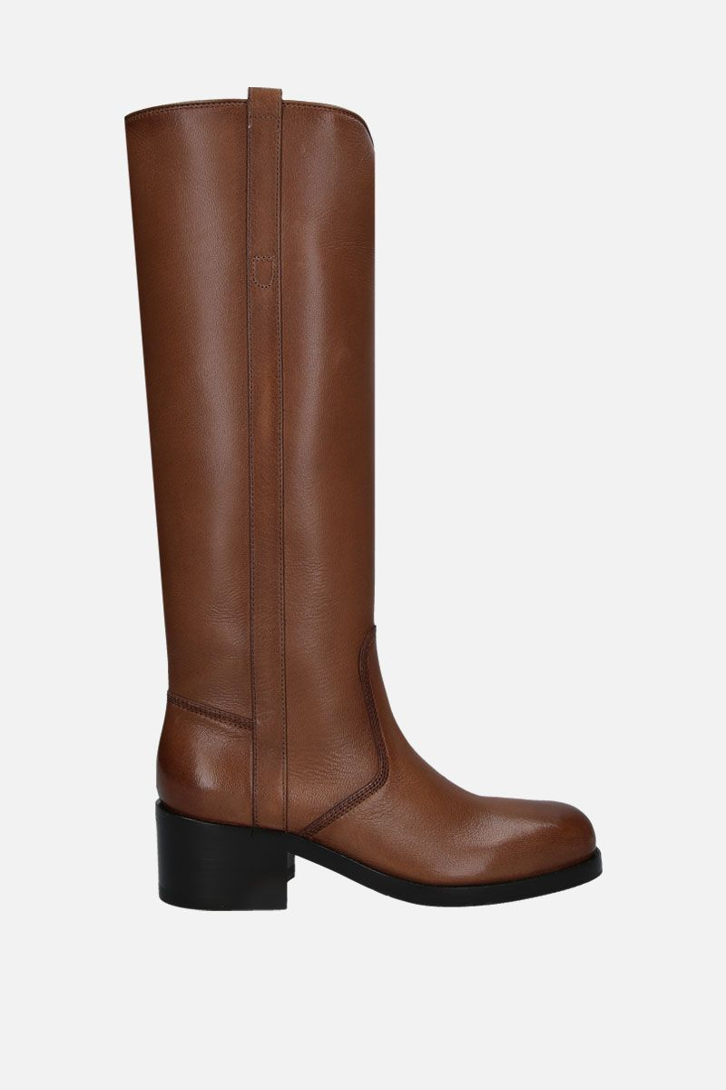 SANTONI: smooth leather pull-on boots Color Brown_1