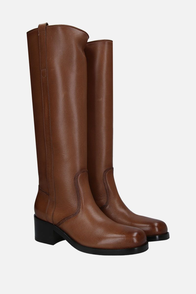 SANTONI: smooth leather pull-on boots Color Brown_2