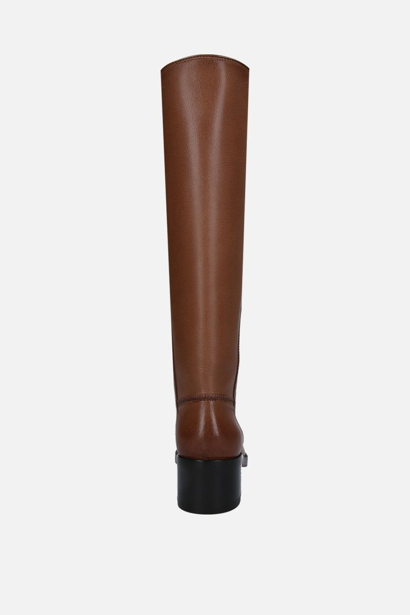 SANTONI: smooth leather pull-on boots Color Brown_3