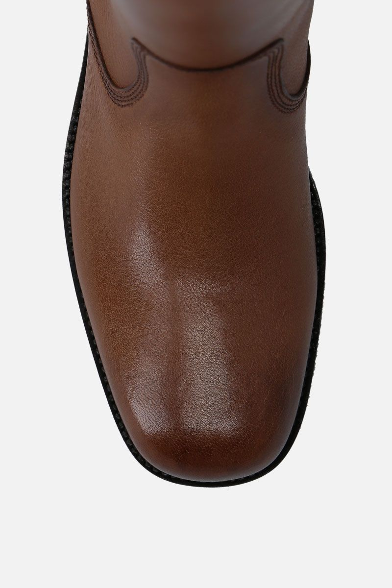 SANTONI: smooth leather pull-on boots Color Brown_4
