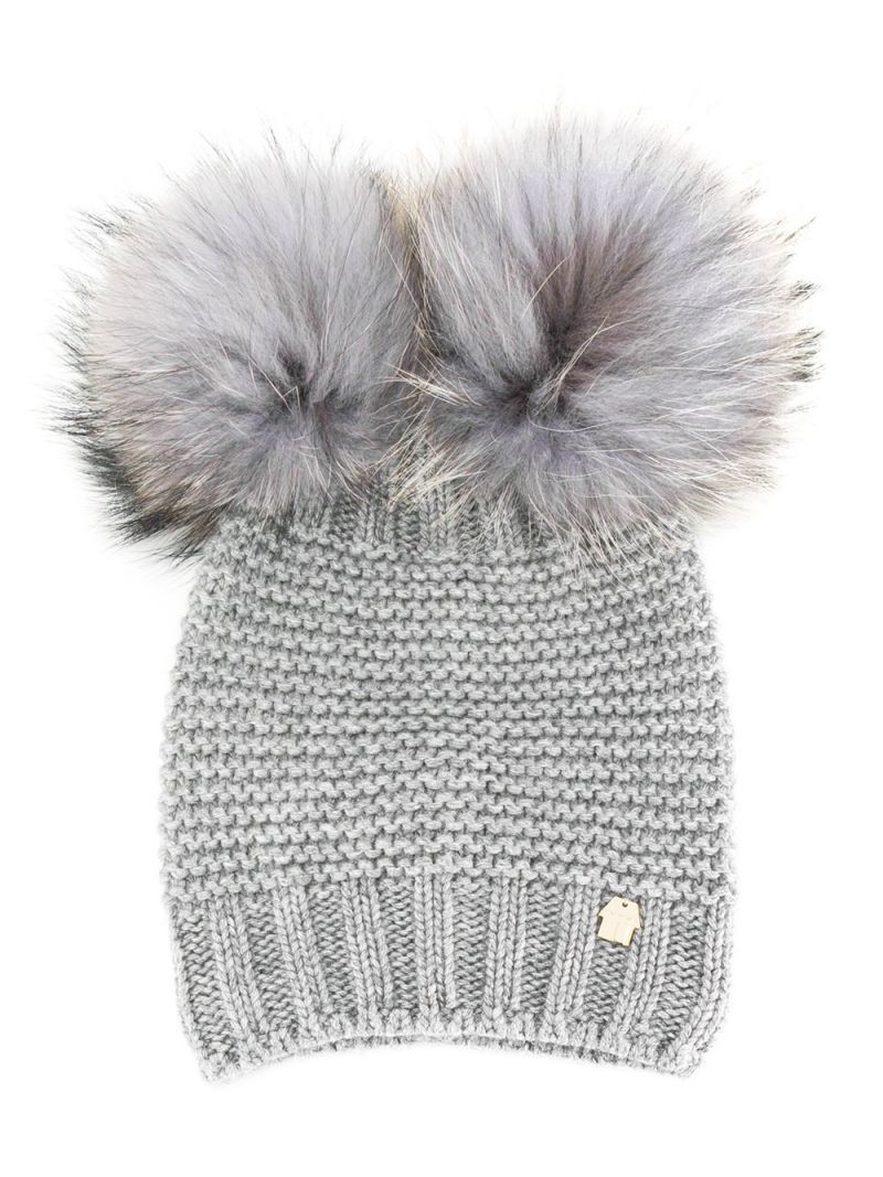 SIMONETTA: wool blend beanie with fur pompom Color Grey_1