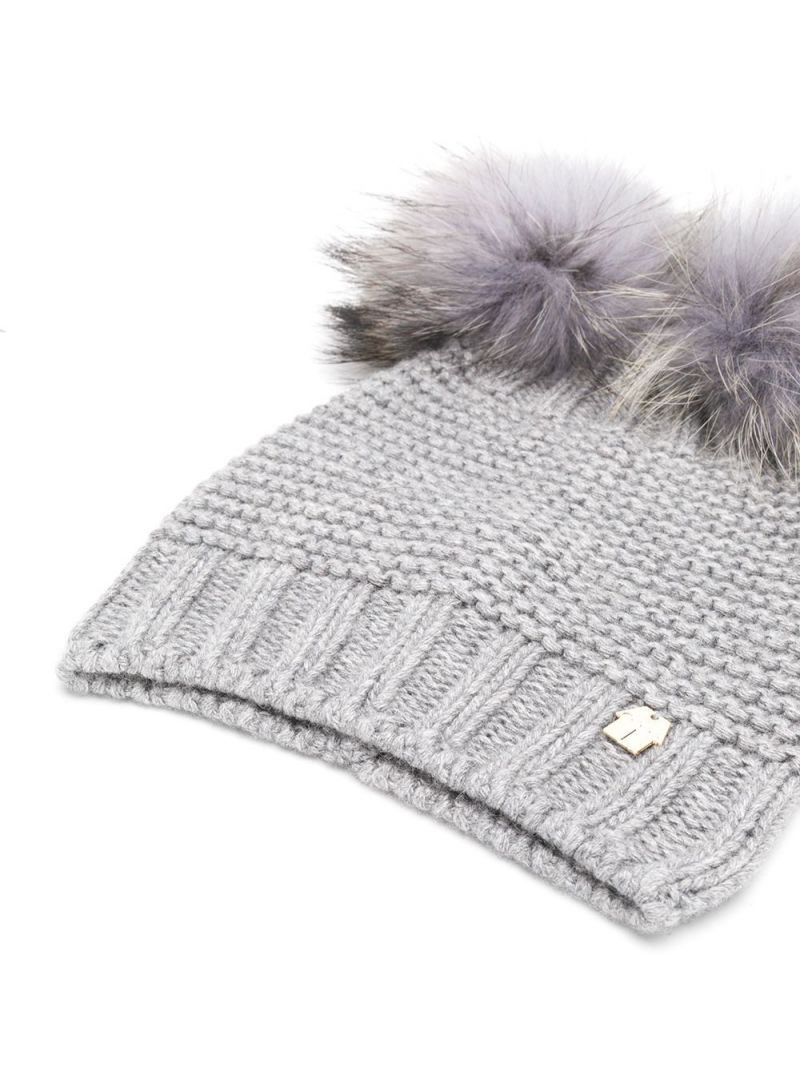 SIMONETTA: wool blend beanie with fur pompom Color Grey_2