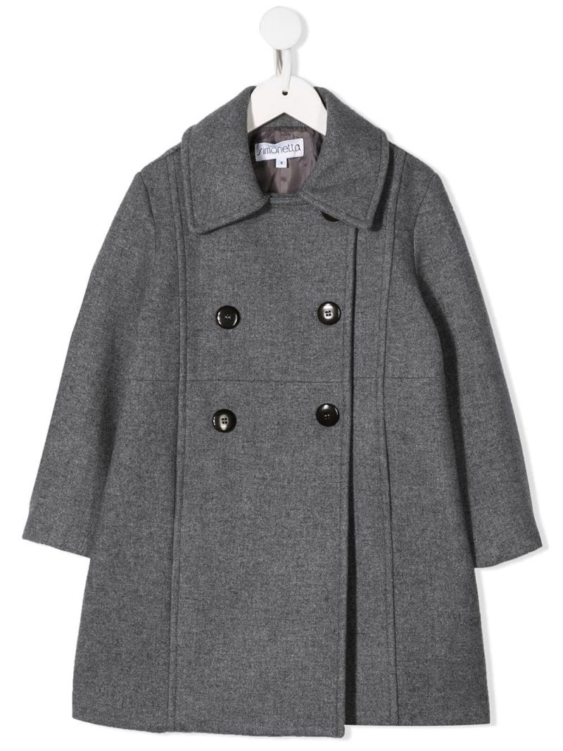 SIMONETTA: double-breasted coat in wool blend Color Grey_1