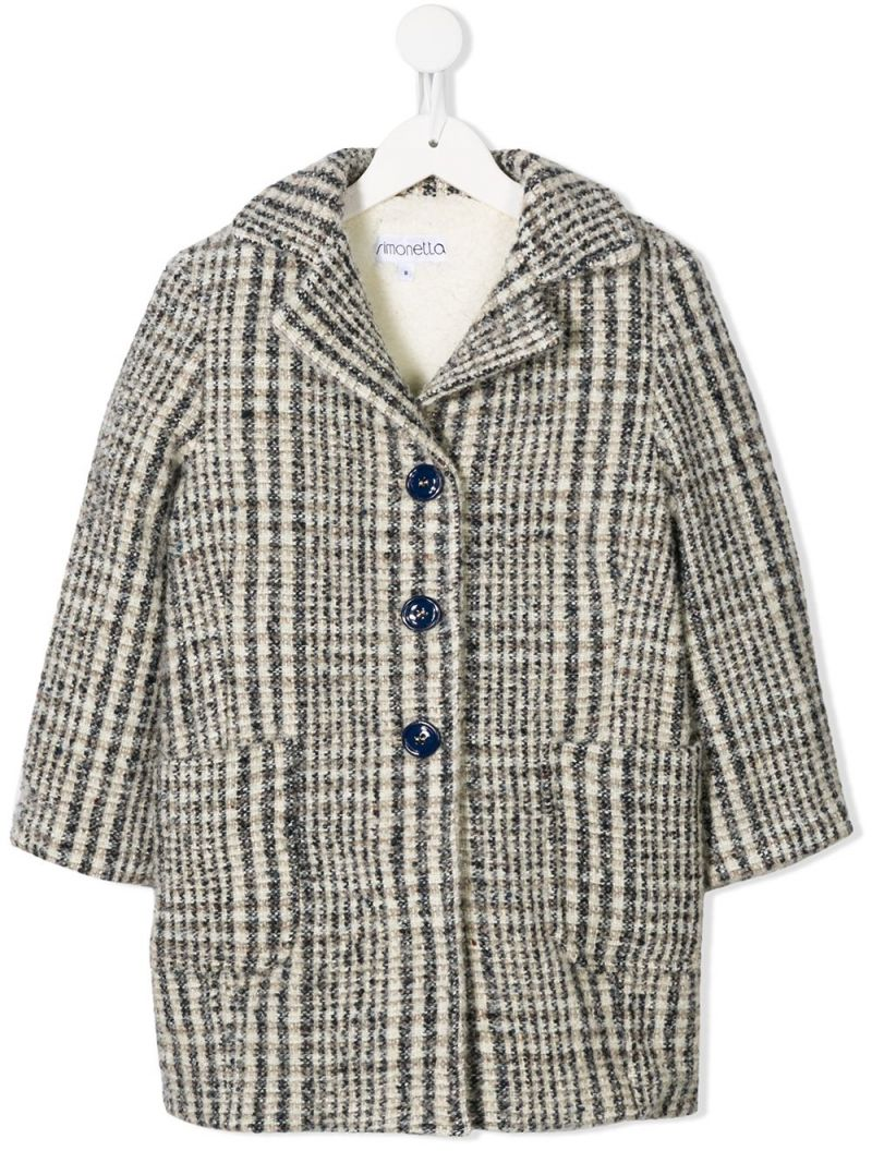 SIMONETTA: single-breasted coat in check wool blend Color Grey_1