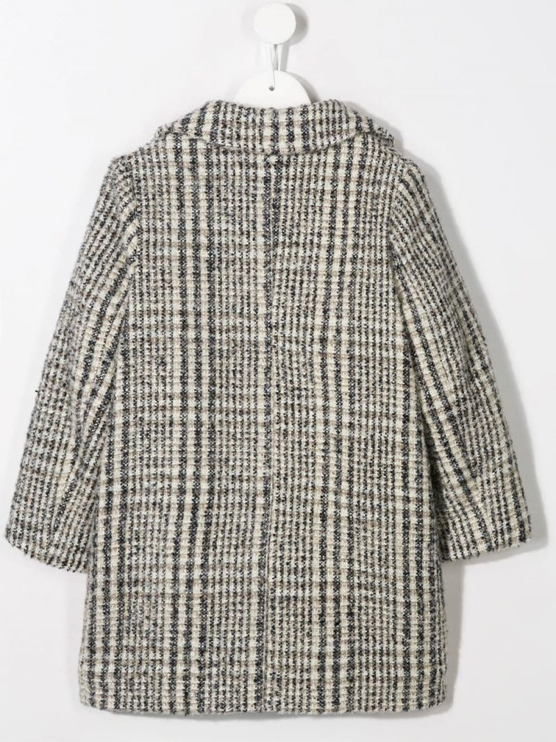 SIMONETTA: single-breasted coat in check wool blend Color Grey_2