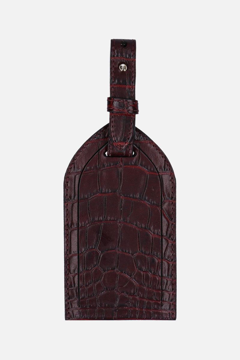 SMYTHSON: Mara luggage tag in crocodile embossed leather Color Brown_1