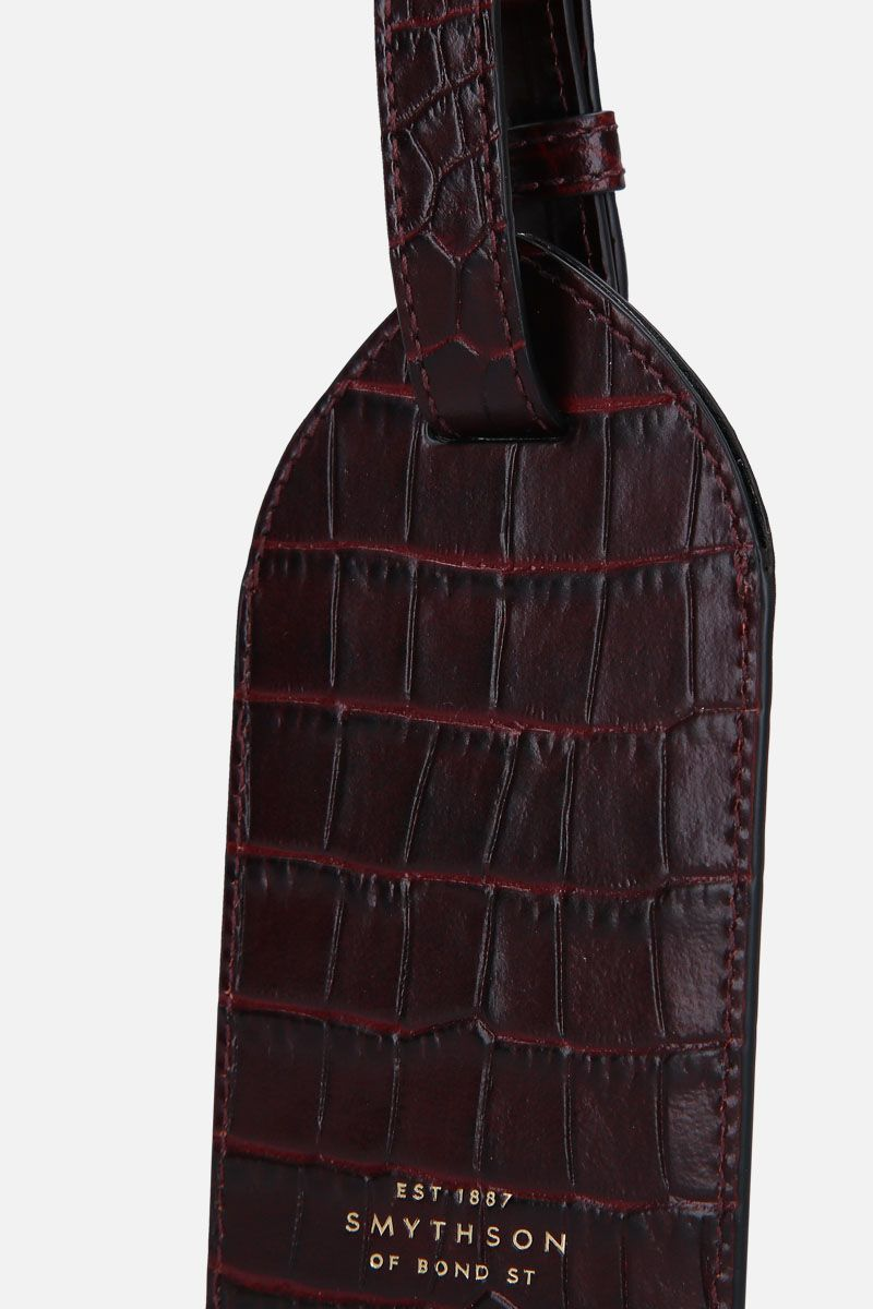 SMYTHSON: Mara luggage tag in crocodile embossed leather Color Brown_3