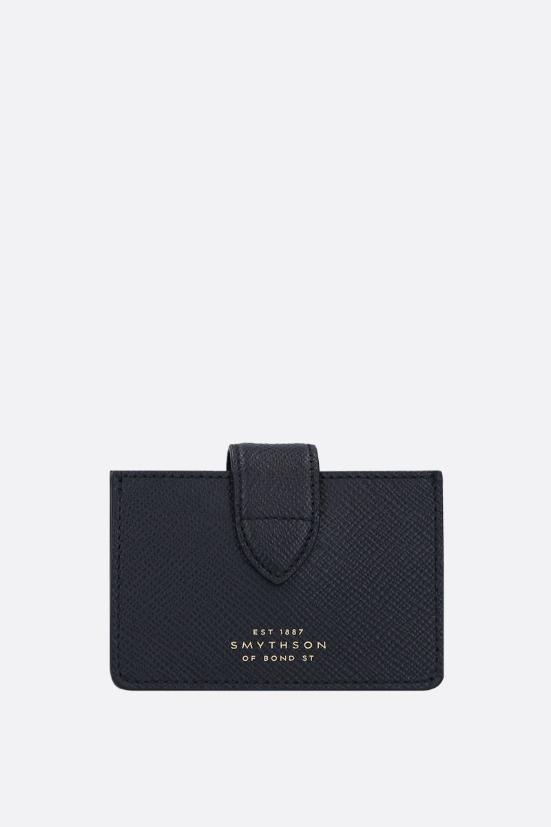 SMYTHSON: Panama card case in crossgrain leather Color Black_1