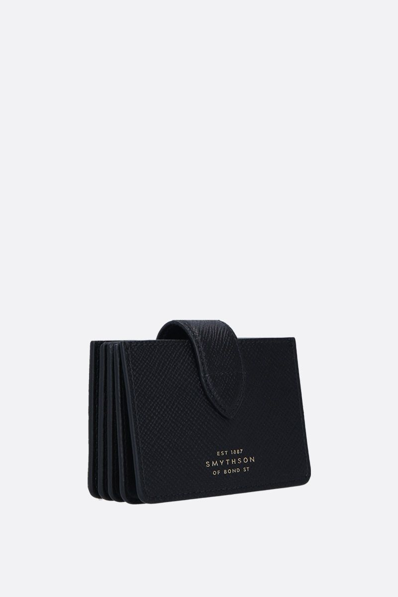 SMYTHSON: Panama card case in crossgrain leather Color Black_2
