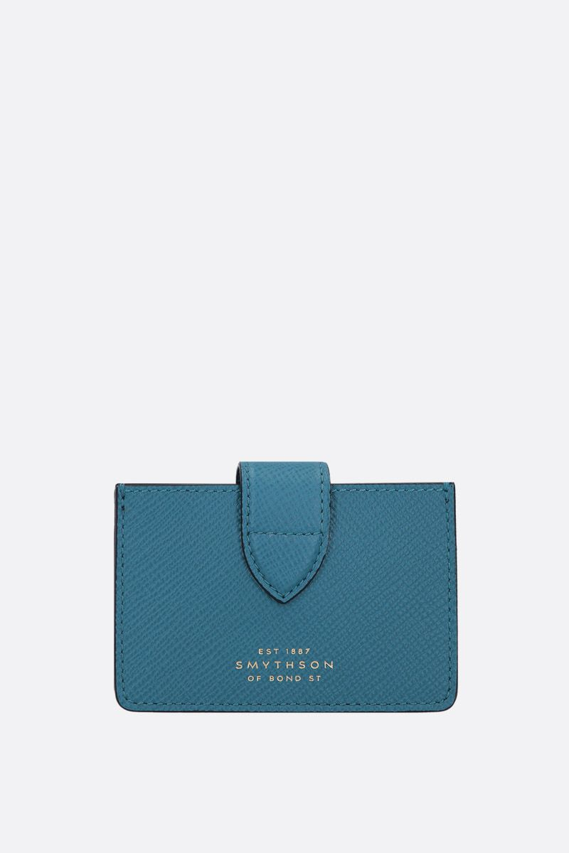 SMYTHSON: Panama card case in crossgrain leather Color Green_1
