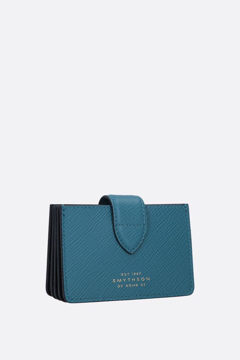 SMYTHSON: Panama card case in crossgrain leather Color Green_2