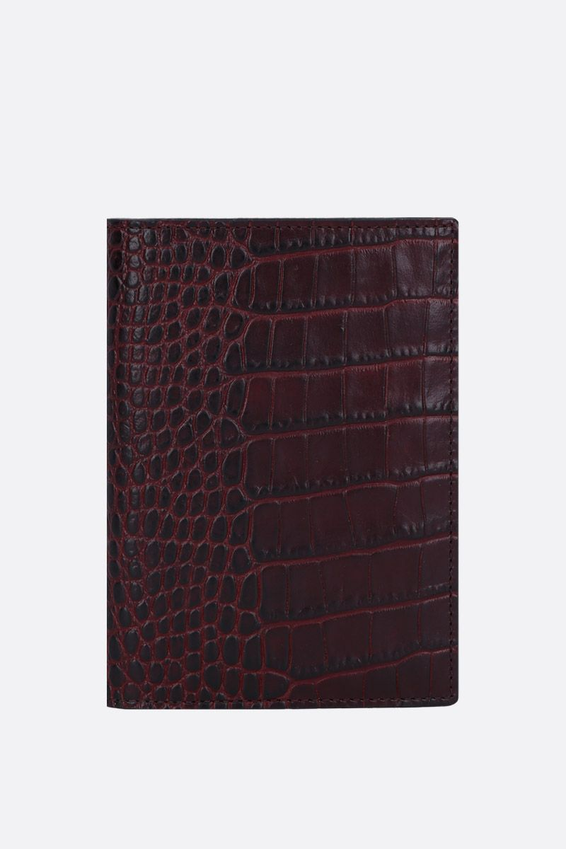 SMYTHSON: Mara passport holder in crocodile embossed leather Color Brown_1