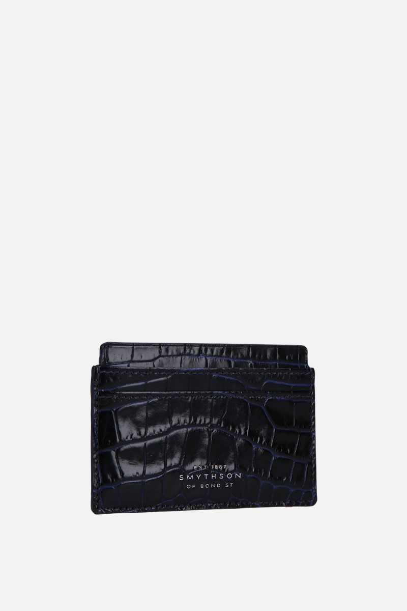 SMYTHSON: Mara card case in crocodile embossed leather Color Blue_2