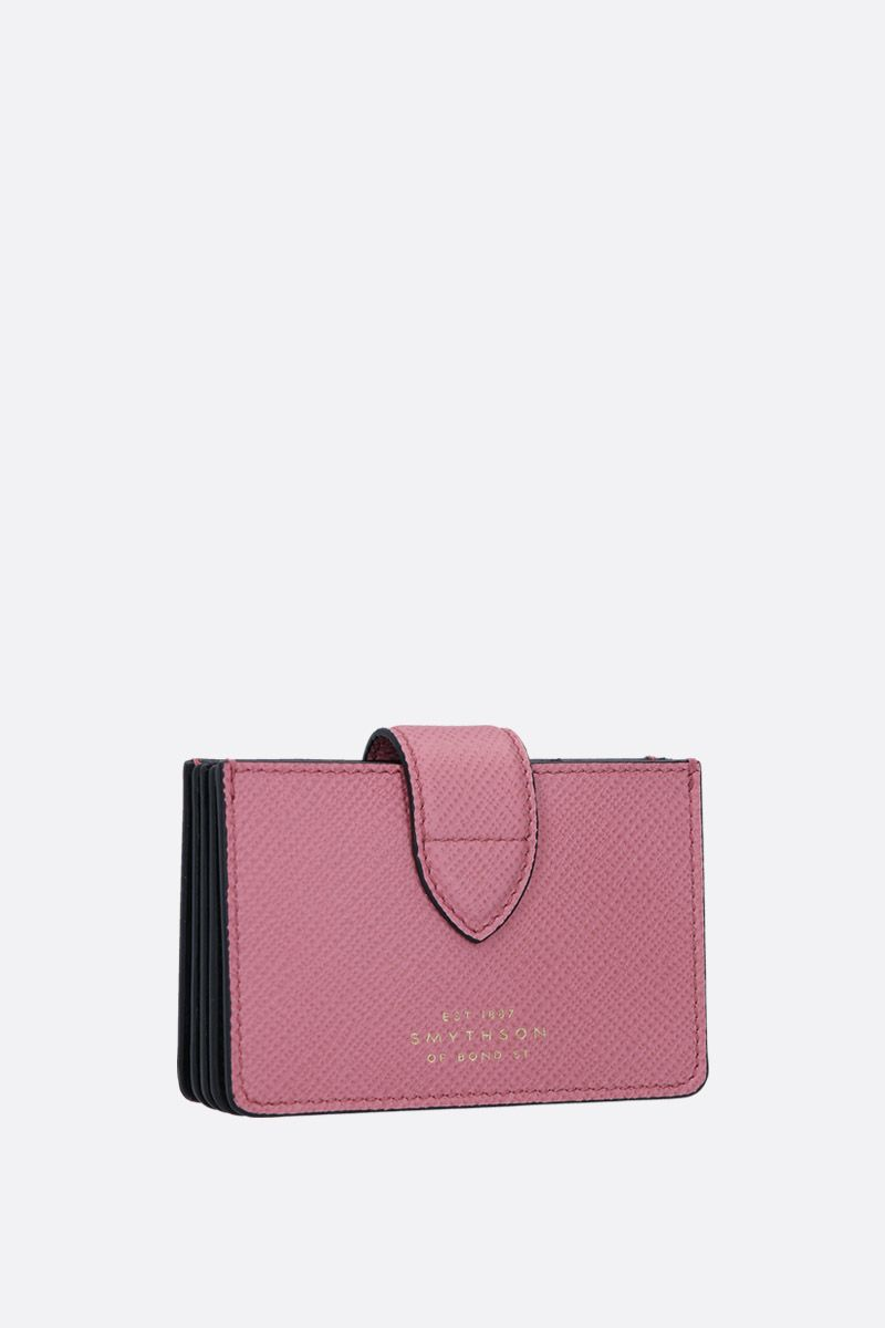 SMYTHSON: Panama card case in crossgrain leather Color Pink_2