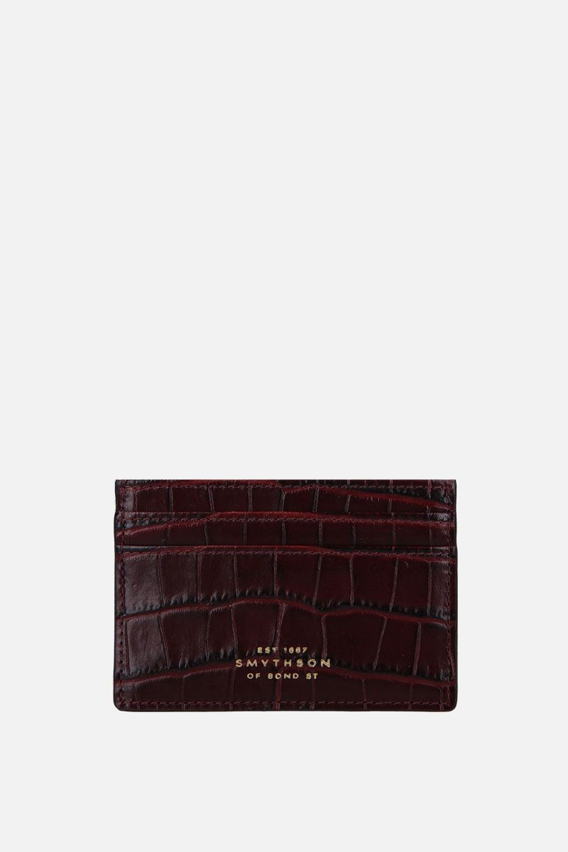 SMYTHSON: porta carte Mara in pelle stampa coccodrillo Colore Marrone_1