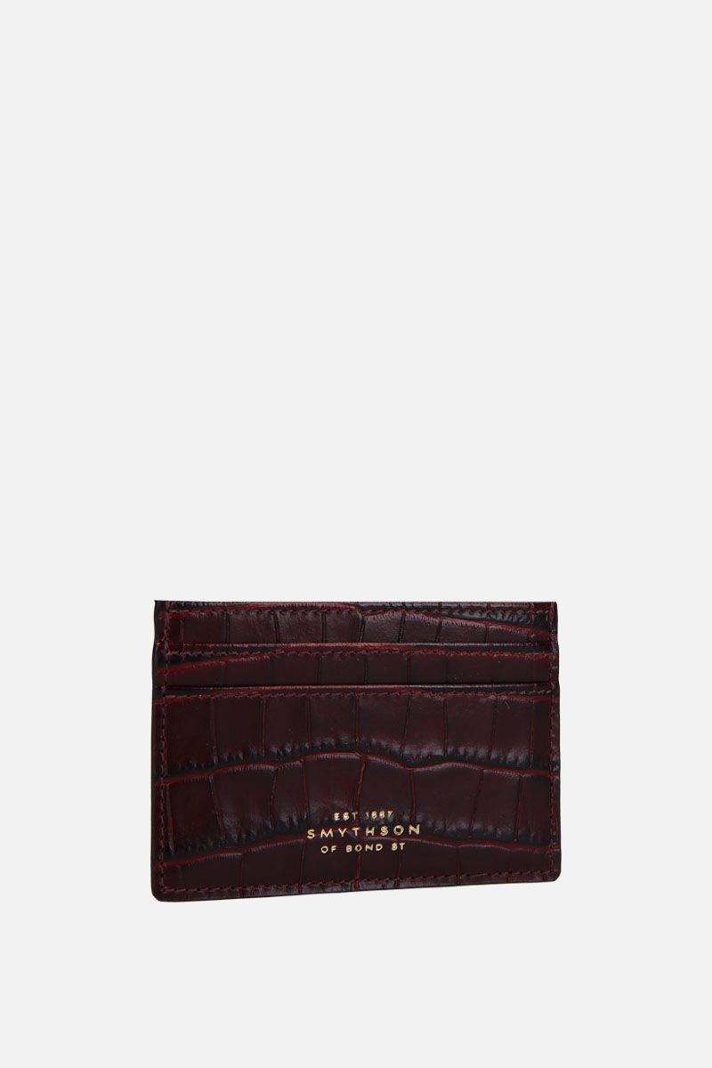 SMYTHSON: porta carte Mara in pelle stampa coccodrillo Colore Marrone_2