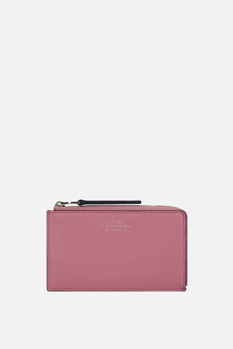 SMYTHSON: Panama coin purse in crossgrain leather Color Pink_1