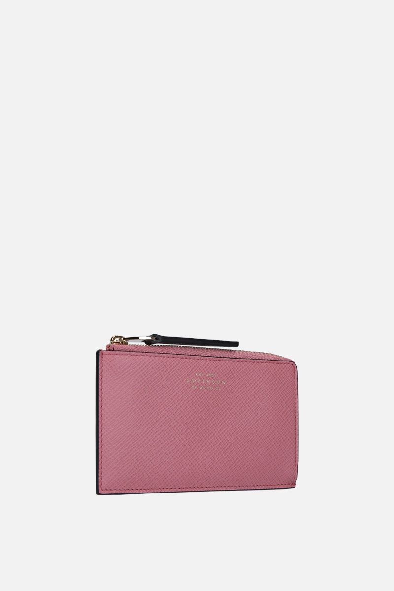 SMYTHSON: Panama coin purse in crossgrain leather Color Pink_2