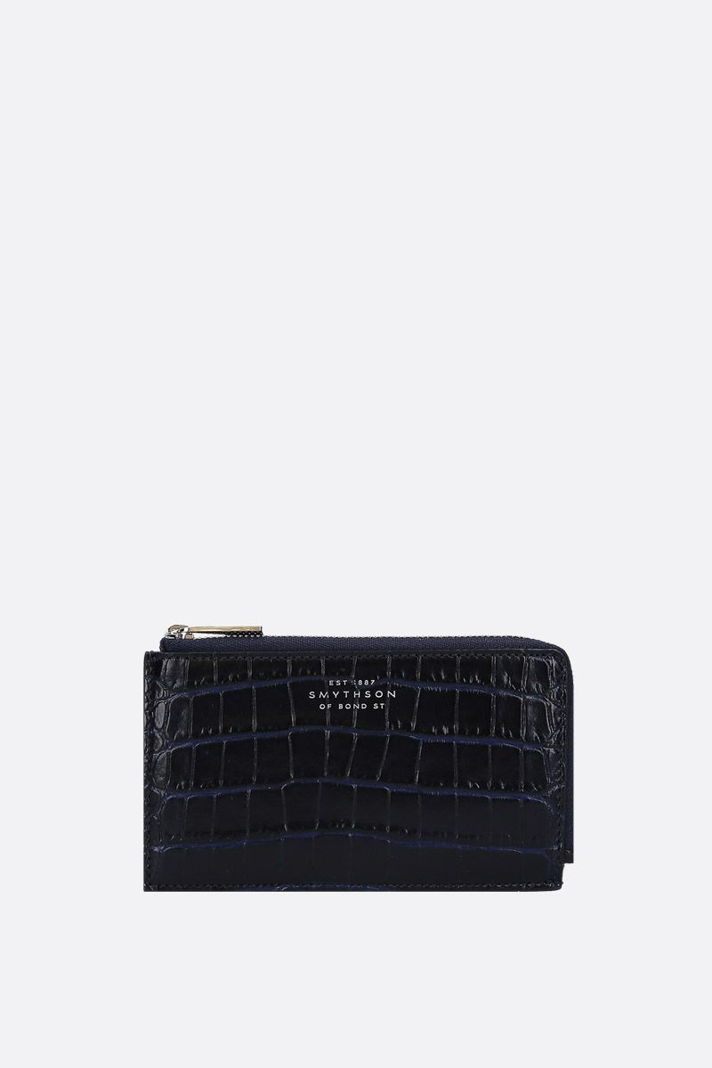 SMYTHSON: Mara coin purse in crocodile embossed leather Color Blue_1