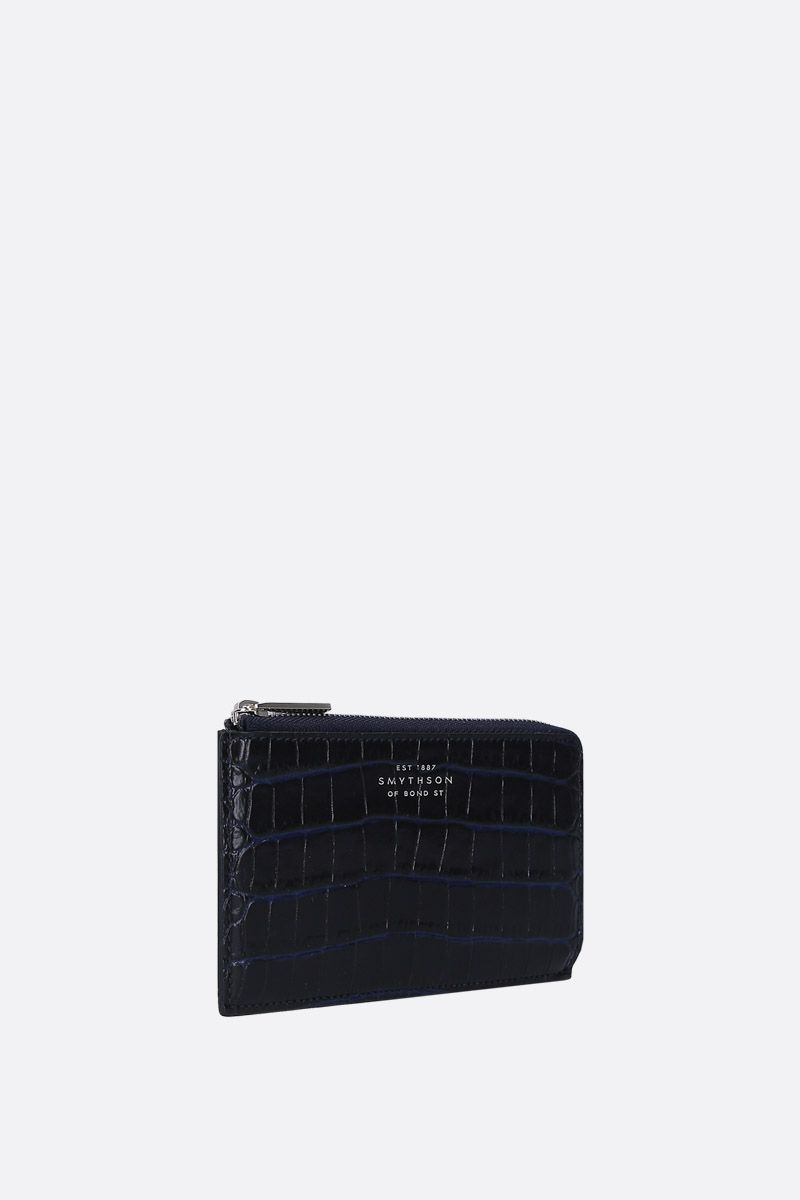 SMYTHSON: Mara coin purse in crocodile embossed leather Color Blue_2