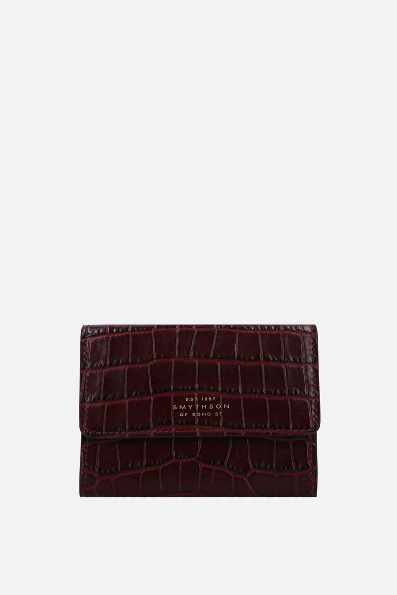 SMYTHSON: Mara coin purse in crocodile embossed leather Color Brown_1