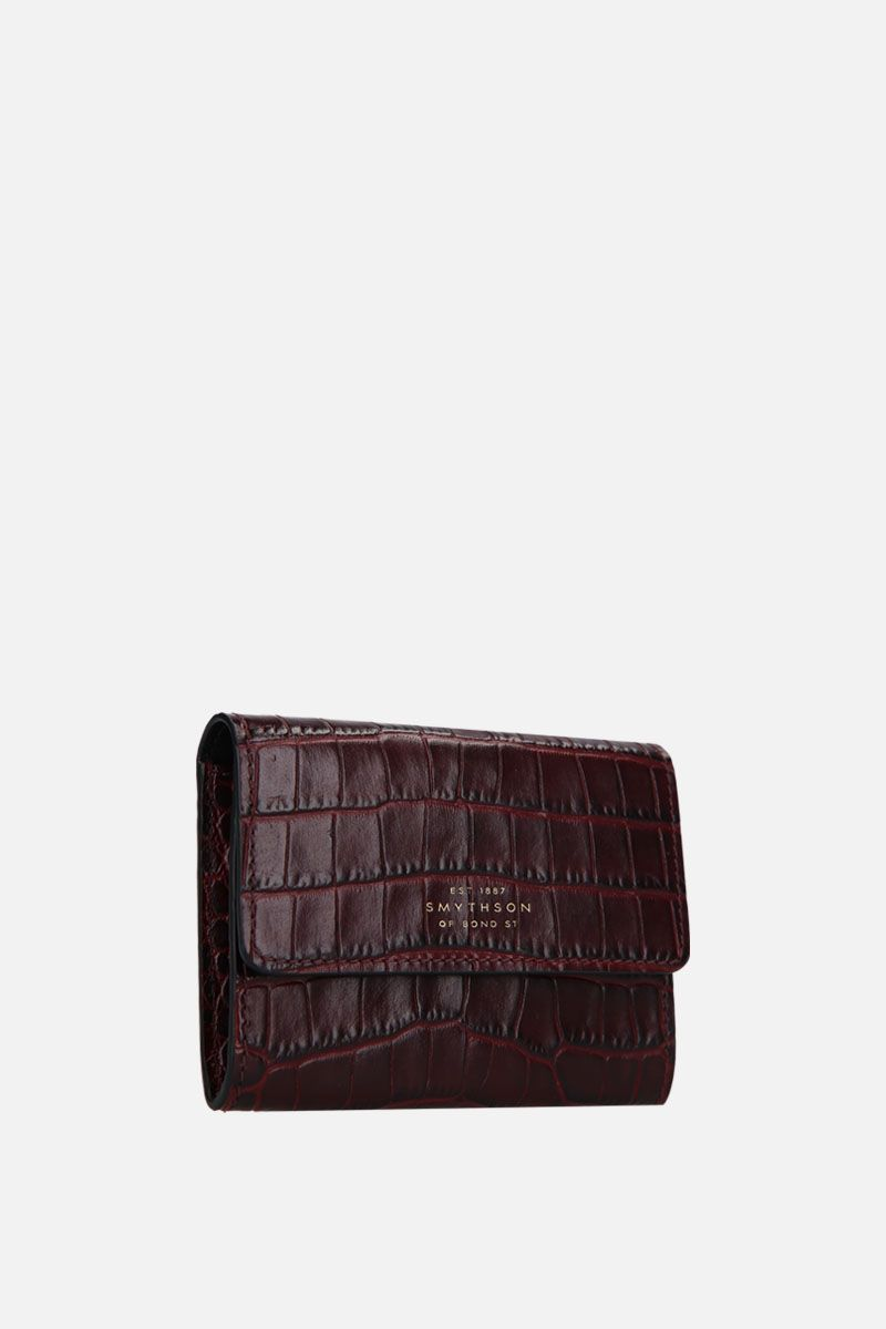 SMYTHSON: Mara coin purse in crocodile embossed leather Color Brown_2