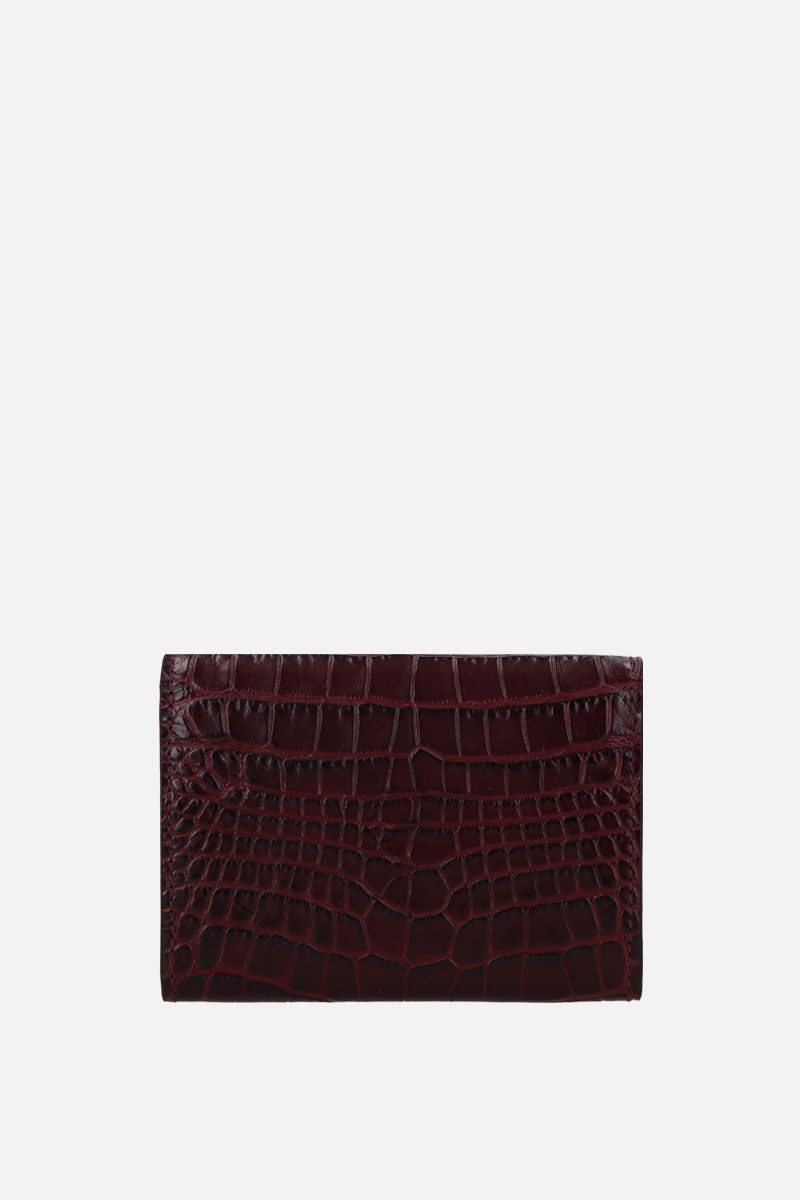 SMYTHSON: Mara coin purse in crocodile embossed leather Color Brown_3