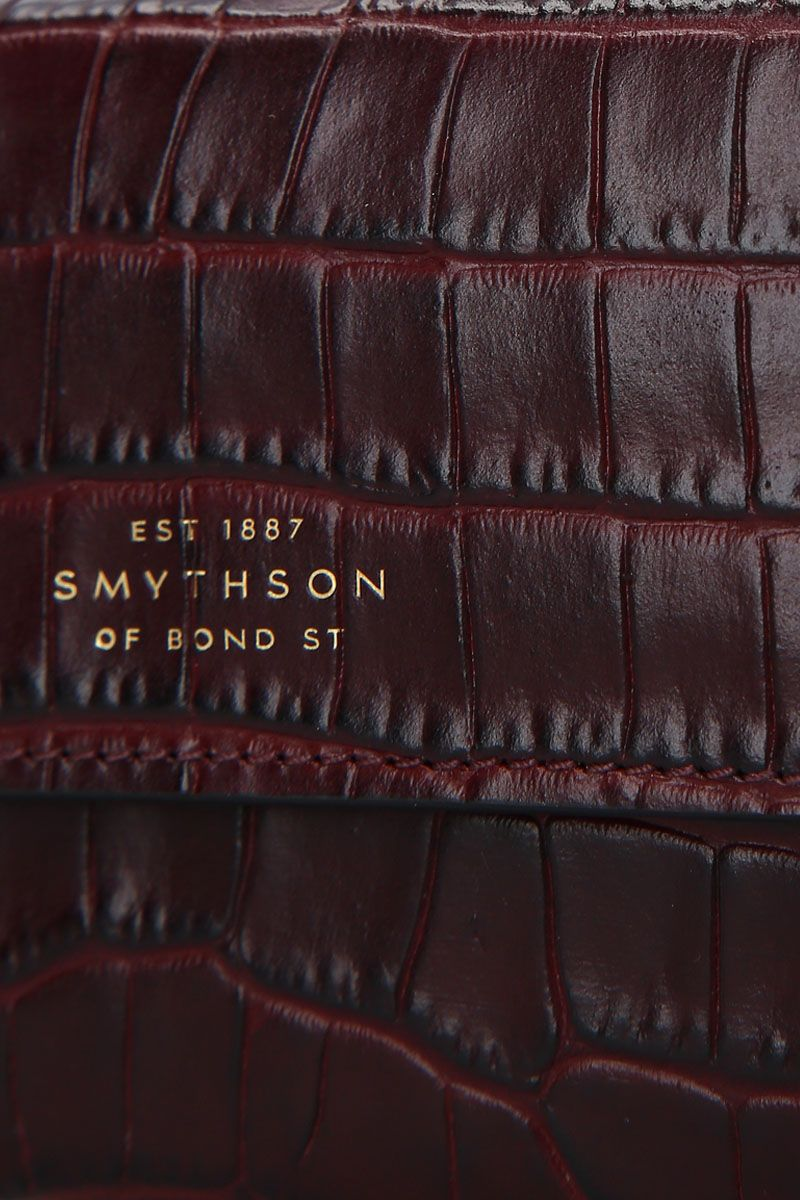 SMYTHSON: Mara coin purse in crocodile embossed leather Color Brown_4