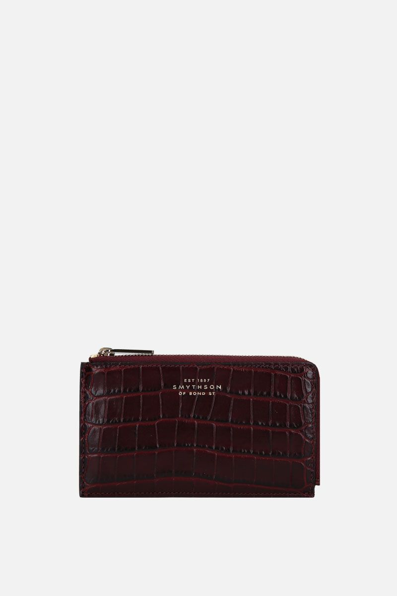 SMYTHSON: Panama coin purse in crossgrain leather Color Brown_1
