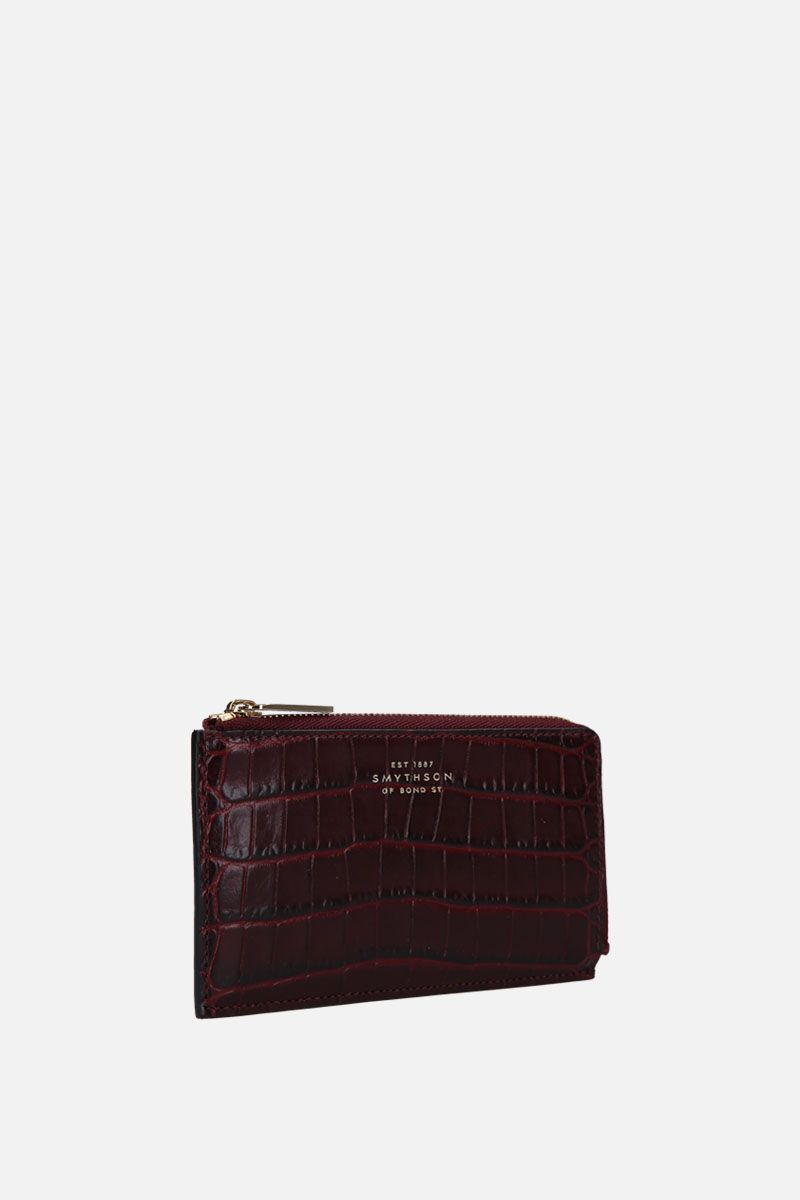 SMYTHSON: Panama coin purse in crossgrain leather Color Brown_2