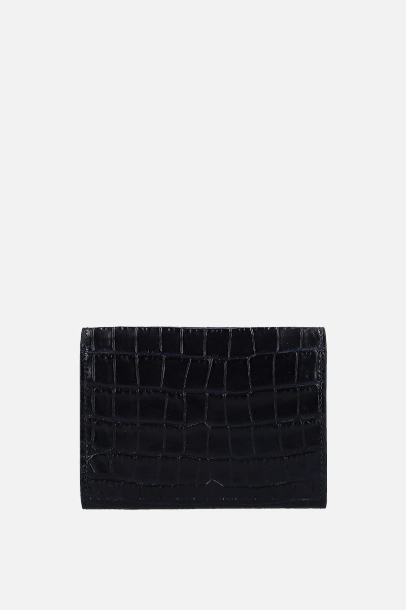 SMYTHSON: Mara coin purse in crocodile embossed leather Color Blue_3