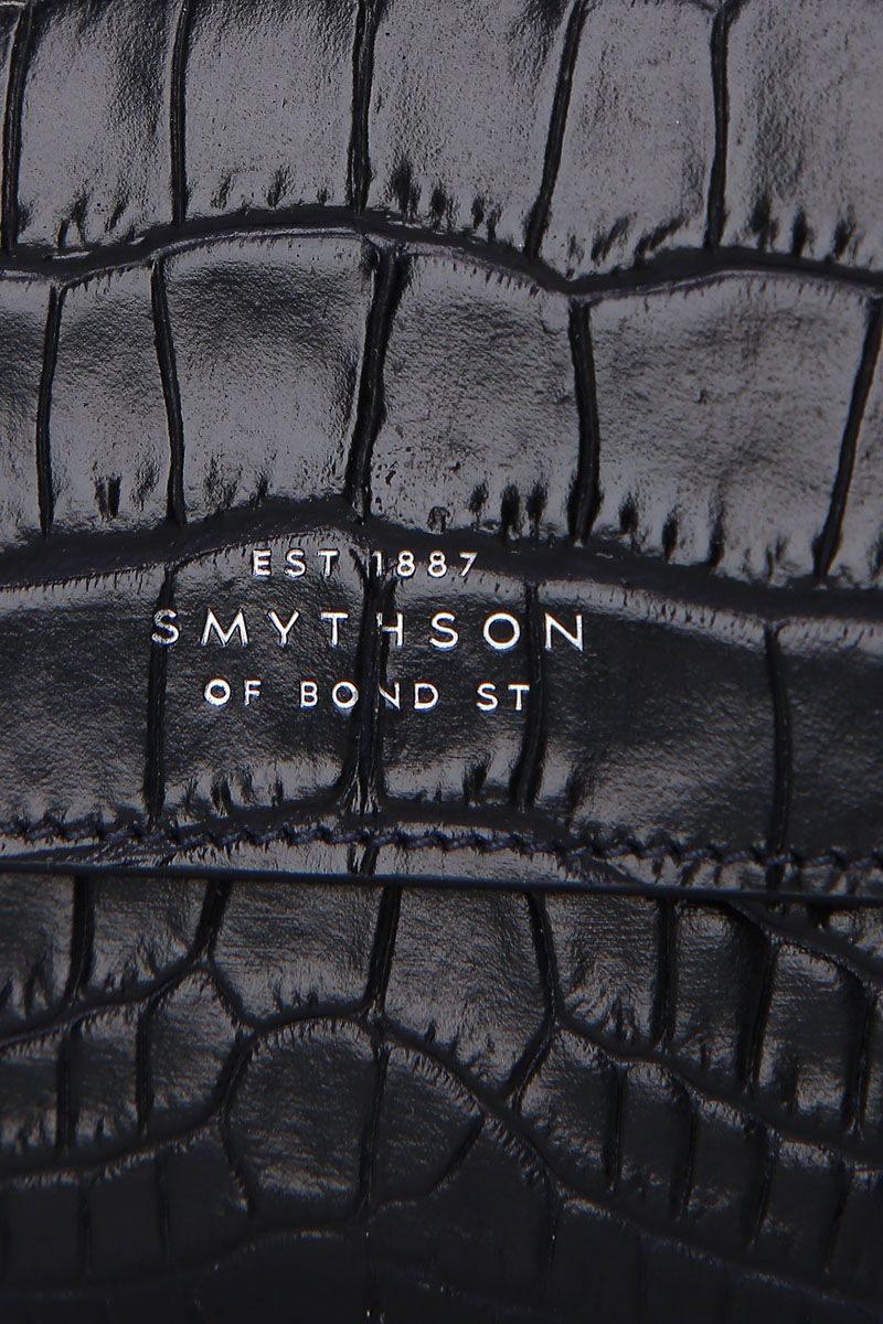 SMYTHSON: Mara coin purse in crocodile embossed leather Color Blue_4