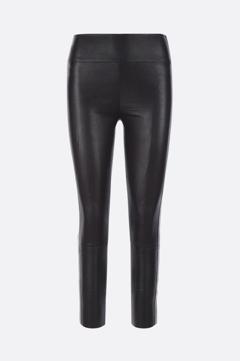 SPRWMN: Athletic cropped leggings in stretch leather Color Black_1