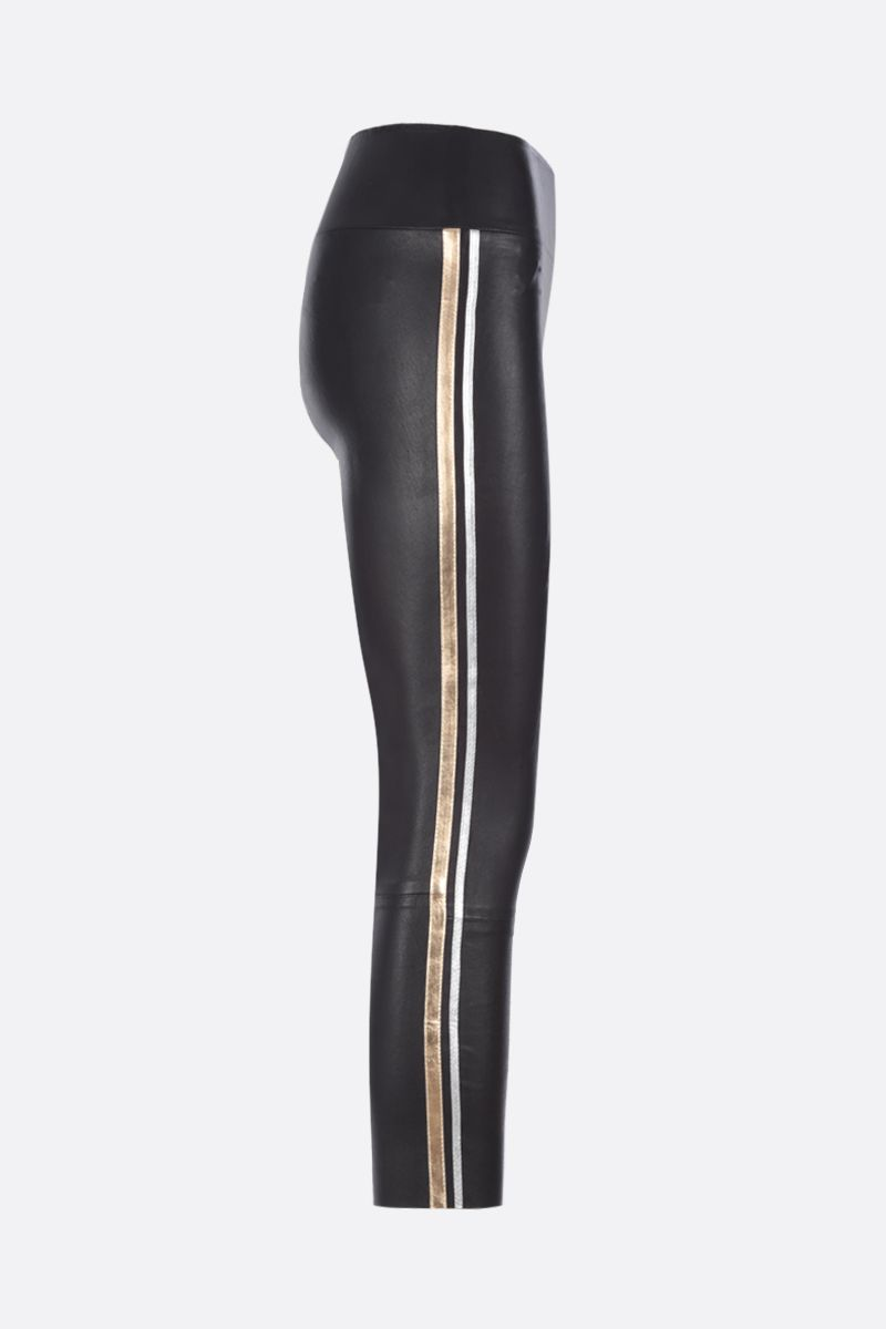 SPRWMN: Athletic cropped leggings in stretch leather Color Black_2