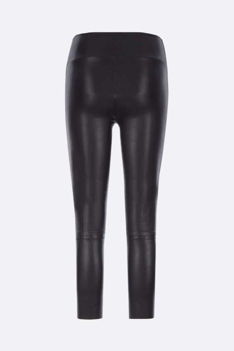 SPRWMN: Athletic cropped leggings in stretch leather Color Black_3