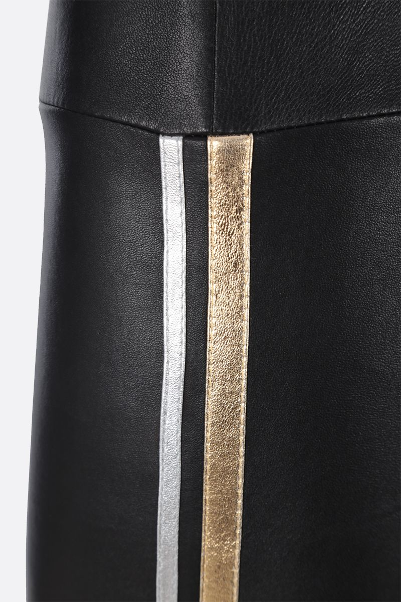 SPRWMN: Athletic cropped leggings in stretch leather Color Black_4